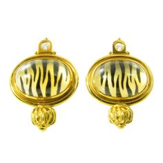 """ELIZABETH GAGE Mother of Pearl, Diamond, Quartz and  Gold """"Valois"""" Earrings. 