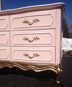 Pink Gold Dipped Dresser, French Provincial Dresser, Vintage nursery dresser, Painted Dresser