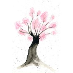 Cherry blossom tree art print from original watercolor illustration (€8,61) ❤ liked on Polyvore featuring home, home decor, wall art, cherry blossom tree painting, tree wall art, watercolor trees, watercolor tree painting and cherry blossom tree wall art