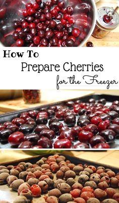 When I get a good deal on cherries but we can't eat them all. I'll prepare the cherries for the freezer. Then I can use them in smoothies or bake with them any time of year. Come learn how to preserve cherries. Cherry Desserts, Cherry Recipes, Fruit Recipes, Nutella Recipes, Dessert Recipes, Frozen Cherries, Sweet Cherries, Freezing Cherries, Tart Cherries