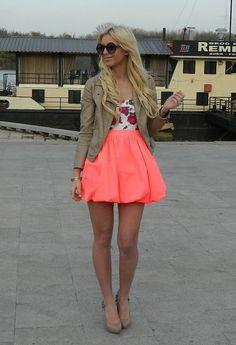 Neon orange skirt floral top nude/tan jacket