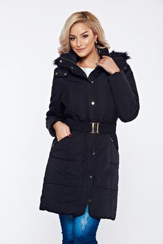 Top Secret black casual jacket from slicker accessorized with tied waistband, women`s jacket, faux fur details, undetachable hood, eyelets and zipper fastening, accessorized with tied waistband, inside lining, slicker fabric