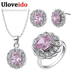 Find More Jewelry Sets Information about Uloveido Wedding Jewelry Sets with Pink Stones Ring Earring Necklace Women Cubic Zirconia Anel Costume Bridal Jewellery Set T538,High Quality set scan,China set up wireless mouse Suppliers, Cheap set up led tv from Uloveido Official Store on Aliexpress.com