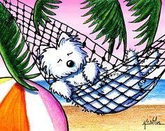 Vacation Westie Drawing - Vacation Westie Fine Art Print