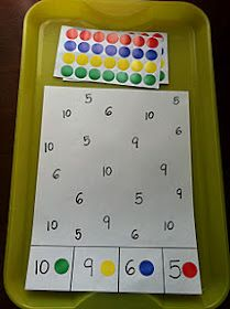 "Encouraging number recognition with a simple numeral-match game ("",) Use glass flat marbles and clear paper."