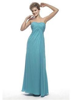 Long Chiffon Strapless Bridesmaid Dress