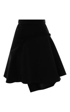 This **Carven** curved flare skirt features a high rise with an asymmetric braid across the front and a flared hem.