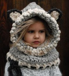 This is the cutest thing ever! Woodlynn Wolf Cowl Crochet Pattern by Artist Heidi May from The Velvet Acorn Crochet Wolf, Knit Crochet, Crochet Hats, Crochet Beanie, Crochet Outfits, Learn Crochet, Crochet Hoodie, Velvet Acorn, Crochet For Kids
