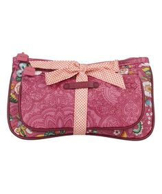 Pink French Flowers Bow Tie Cosmetic Bag