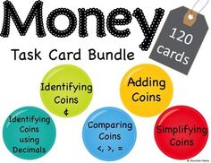 """This bundle includes 5 different sets of task cards adding up to 120 money task cards in all!Each set includes 24 task cards, an I Can statement, a recording sheet, and an answer sheet.Task Card Identifying Coins using - """"Choose the correct Math 5, Math Class, Teaching Math, Maths Resources, Math Activities, Teacher Resources, Identifying Coins, I Can Statements, Math Task Cards"""