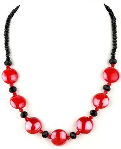 Red and Black Beaded Murano Glass and Crystal by LoveMurano