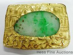 18K Gold Greek Roman Egyptian Scene Translucent Jadeite Jade moss snow antique