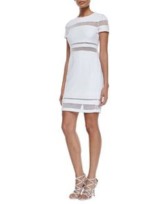 T9ZDT Bailey 44 Mateo Mesh-Inset Dress, White
