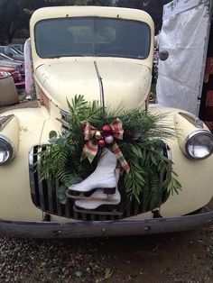 vintage car with Christmas wreath