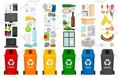 Garbage containers and types of trash by Stock-Smart-Start on @creativemarket