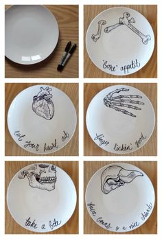 anatomic drawings on plates