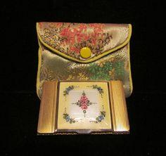 1930s La Mode Compact Vintage Compact Guilloche Enamel Powder Rouge Lipstick Compact