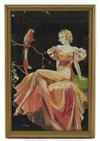 An Art Deco print of a lady seated by a parrot by H L Marriott, dated 1938,