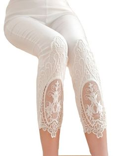 Lace Patchwork Hollow-out Cotton Women's Leggings Lace Denim Shorts, Lace Leggings, Best Leggings, Punjabi Dress Design, Fashion Pants, Fashion Outfits, Designer Jumpsuits, Stylish Dresses For Girls, Kawaii Clothes