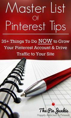 Master List of Pinterest Tips to Grow your Blog. #pinteresttips #Pinterest