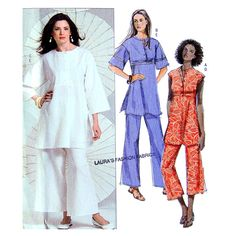 Womans African Inspired Tunic and Pants Sewing Pattern - Very Easy - Butterick B5048 - Size 8 10 12 14 UNCUT