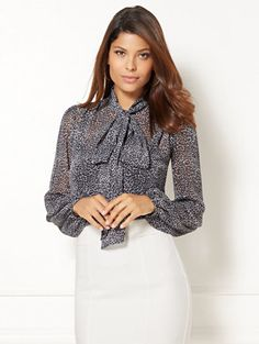 Shop Eva Mendes Collection - Isabella Bow Blouse . Find your perfect size online at the best price at New York & Company.