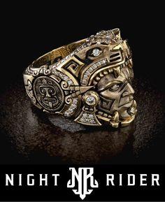 Aztec Rings, Aztec Jewelry, Skull Jewelry, Antique Jewelry, Cool Rings For Men, Unique Mens Rings, Rings Cool, Aztec Empire, Mens Skull Rings