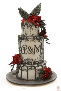 Gothic Halloween Inspired Cake » Halloween Cakes--- without wings on top maybe...