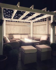 Feel like you're under a starry night sky. Garden decor inspiration with outdoor rattan patio furniture, a fire pit table, pergola and fairy lights Backyard Patio Designs, Backyard Landscaping, Pergola Garden, Diy Pergola, Pergola Ideas, Garden Decking Ideas, Back Garden Ideas, Very Small Garden Ideas, Outdoor Garden Rooms