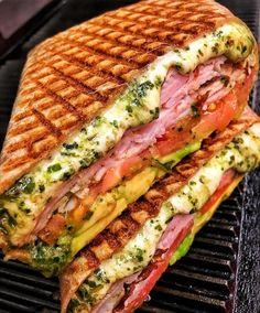 Ham, cheese, vegetable and pesto sandwich - Make Food Think Food, I Love Food, Good Food, Yummy Food, Healthy Food, Tasty, Healthy Recipes, Food Obsession, Food Goals