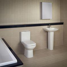 RAK Ceramics Origin 62 Close Coupled Toilet with Soft Close Seat Traditional Bathroom Suites, Classic Bathroom Furniture, Close Coupled Toilets, Ceramics, Shower, The Originals, Ceramica, Rain Shower Heads, Pottery