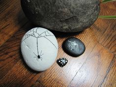 Spiders and goth lady bug hand painted rocks lot of 3 by hamadrys