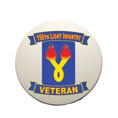 This beautiful 196th Light Infantry Brigade Veteran Coaster is a must-have. Full color design custom baked into the stone for long lasting color; cork bottom to prevent table scratching; strong, durable & absorbent for all types of drink ware.