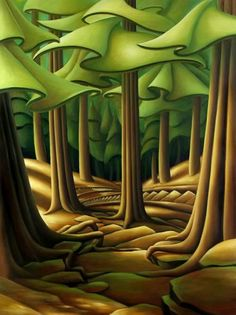 Sunlight on the Grind by Dana Irving Landscape Art Quilts, Abstract Landscape, Landscape Paintings, Abstract Trees, Painting Abstract, Pintura Country, Canadian Art, Acrylic Art, Acrylic Paintings