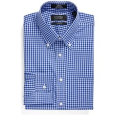 Men's Nordstrom Men's Shop Classic Fit Non-Iron Gingham Dress Shirt ($50) ❤ liked on Polyvore featuring men's fashion, men's clothing, men's shirts, men's dress shirts, blue marine, non iron men's shirts, nordstrom mens dress shirts, mens button down collar dress shirts, nordstrom mens shirts and men's non iron dress shirts