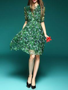 Floral Pattern Printed Silk Midi Dress