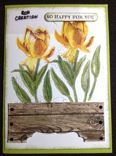 Lotus in a planter Pretty Cards, Garden Gates, Flower Cards, Lotus Flower, Holiday Cards, Stampin Up, Birthday Cards, Planters, Bloom