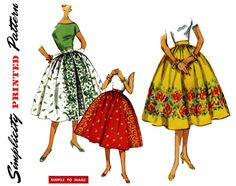 1950s Skirt Pattern Uncut Waist 26 Simplicity 1550 Full Gathered Border Print Skirts Day Evening Rockabilly Womens Vintage Sewing Patterns by CynicalGirl on Etsy