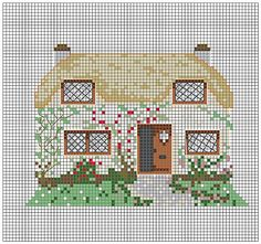 cottage cross stitch Cross Stitch House, Mini Cross Stitch, Cross Stitch Borders, Cross Stitching, Cross Stitch Embroidery, Cross Stitch Patterns, Needlepoint, Needlework, Sewing Projects