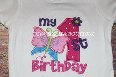 My First Birthday Butterfly T-shirt  by DivaSophiaBoutique on Etsy