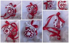Red and White Holiday Quilted Hanging Ornament Ball by lilyashes