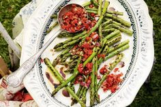 The bright green asparagus and red capsicum salsa add festive flair to the Christmas table.