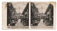 Fotografia stereoscopica del padiglione di Automobilismo e ciclismo.