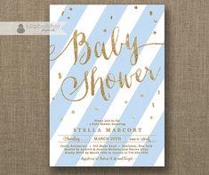 Light Blue & Gold Baby Shower Invitation Boy door digibuddhaPaperie