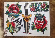 Star wars flower tattoo flash sheet old school
