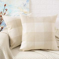 Pack Of 2 Decorative Throw Pillow Covers Woven Textured Chen NAVY BLUE 18/'/'X18/'/'