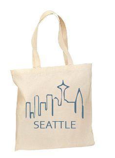 Bridesmaid gift- The Seattle Tote Hand printed Grocery Bag by ExtraordinaryCraft