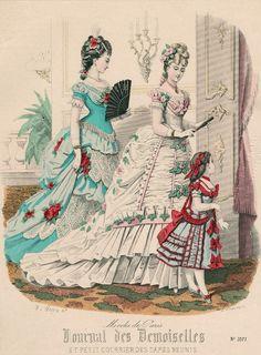 January ballgowns, 1875 France, Journal des Demoiselles et Petit Courrier des Dames Réunis