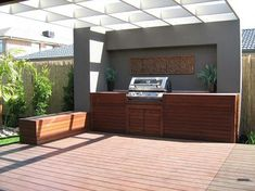 GC decking gives latest ideas for designing your BBQ area in Gold Coast. Have full entertainment with friends and family with stylish outdoor BBQ area. Grill Area, Bbq Area, Bbq Outdoor Area, Alfresco Area, Outdoor Spaces, Diy Grill, Timber Deck, Built In Grill, Outdoor Kitchen Design