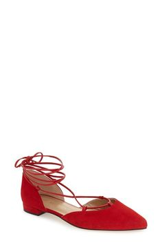 Stuart Weitzman 'Gilligan' Pointy Toe Ghillie Flat (Women)
